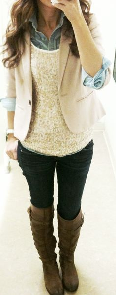 Glitter top + chambray button down + cream blazer + skinnies + casual boots = great Christmas dinner look