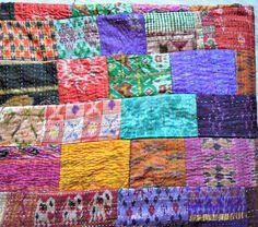 Antique Indian Quilt Vintage Patola Silk Sari by JaipurHandloom, $79.99