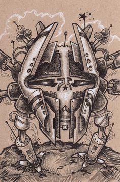 Spider Bot original pen and ink drawing by Bryan Collins  #robots #art #illustration