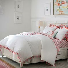 Tassel Duvet Cover + Sham #pbteen - ON SALE $129 - in pink or aqua - LOVE THIS!