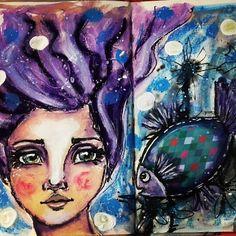 💟 #12MonthsOfMermaids with #jdmm mixing palette sheets 💟💟💟  #elenisartstuff #mixedmedia #art #artwork #artist #artistoninstagram #potd #pickoftheday #photooftheday #whimsical #fun #challenge #instalike #instaartist #instaart #instalove #instagood  #whimsicalart #paintedfaces #janedavenportinspiresme #mermaid #fish #sea