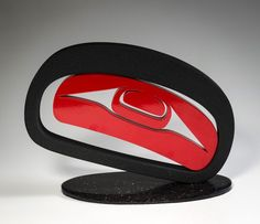 Robert Davidson, Haida: Salmon Troute Head II (2013). Medium: aluminum (epoxy powder-coated), granite base  Size: 10.5 × 14 × 6 inches (incl. base)