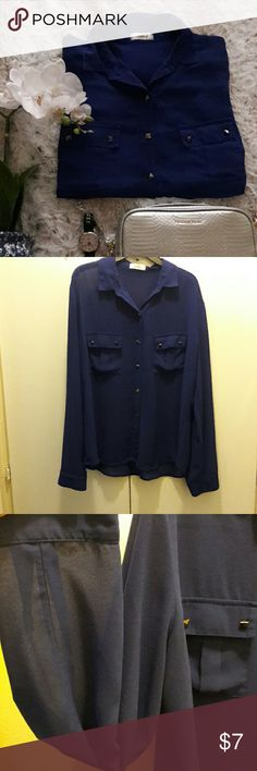 Blouse Button Down Shirt in royal blue. Has two pockets and studs. Used often and minor signs of wear as seen in last pic. Tag doesn't include size but it would fit someone who is a large or x-large. Tops Button Down Shirts