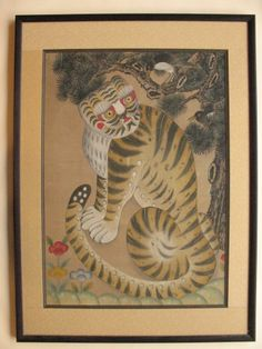 ~Rare old Collection Korean INK PAINTING 19c Art Scroll original Tiger Magpie
