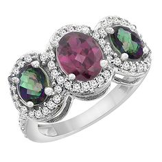 10K White Gold Natural Rhodolite and Mystic Topaz 3-Stone Ring Oval Diamond Accent, sizes 5 - 10 >>> Unbelievable  item right here! : Promise Rings Jewelry