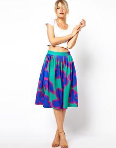 ASOS Midi Skirt in Oversized Floral Print