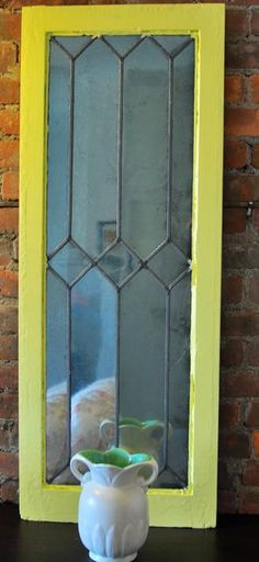 Yellow Leaded Glass Window Frame Wall Mirror