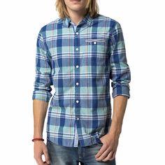 Chemise Tommy Hilfiger homme Fergus en coton à carreaux bleus