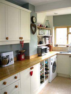 Cream shaker kitchen; walls in F&B blue gray