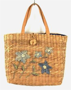 Lord & Taylor Beige Blue Floral Straw Bamboo Purse Tote Shoulder Bag Medium M #LordTaylor #TotesShoppers