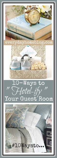 "Several weeks ago, I shared  10-Ways to ""Hotel-ify"" Your Guest Bath. I thought it would be a great time to share the ways  I also prepare my Guest Rooms to make\sure my guests feel right at home. 10-Ways to ""Hotel-ify"" Your Guest Room     1) Linens/Bedding Honestly there is no shortcut when it comes to [...]"