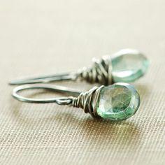 Teal Green Gemstone Earrings Sterling Silver Dangle by aubepine