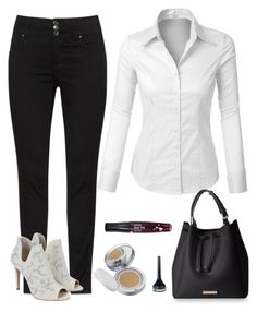 """""""Monochrome Chic ⚽"""" by ninikocosmetics ❤ liked on Polyvore featuring LE3NO, TONYMOLY and Hera"""