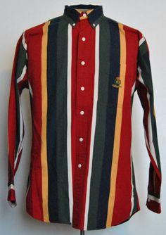 Ralph Lauren Chaps Shirt M Long Sleeve Multi-Color Striped Button-Down Cotton #RalphLaurenChaps free shipping Buy Now  $16.99