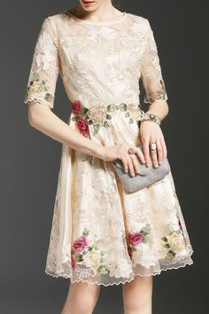 Shop eladybaby apricot embroidered sheer a line dress here, find your mini dresses at dezzal, huge selection and best quality. Lace Embroidery, Embroidered Lace, Dress P, Lace Dress, Dress Making, Mini Dresses, Prom Dresses, Clothes For Women, Fashion Design