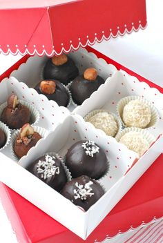 raw chocolates in box