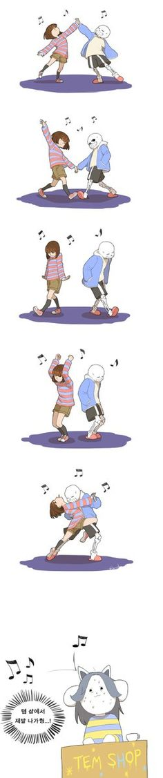 sans and frisk - I dunno what is being said, but they're dancing. That's all that matters.