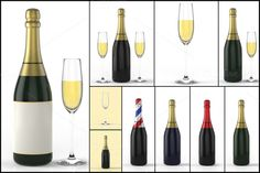 Check out Champagne Bottle and glass 3D by pixaroma on Creative Market