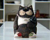 Ceramic Cat, Hand painted cat, Cat sculpture, Cat Figurine, Bowling cat, Art decor, Animal sculpture, Pottery Cat, Funny cat, Clay cat