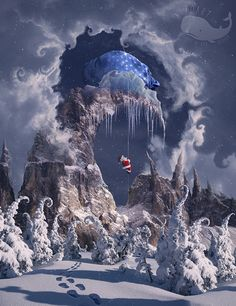 Christmas Gifts Mountain.Learn how to create magic photo manipulation with big curly mountain top using Content-Aware fill option and digital painting techniques.