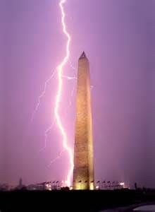 This lightening bolt is hitting the Washington Monument but more interestingly to me is the purple sky. Nature is so cool
