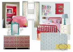 Raspberry and Blue Girls Room