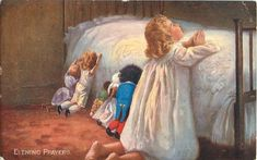 EVENING PRAYERS child and five dolls, including golly, pray at bedside