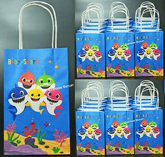 2nd Birthday Party For Girl, Birthday Gift Bags, Birthday Party Favors, Loot Bags, Shark Party, Favorite Candy, Baby Shark, Fill, Baby Boy Birthday
