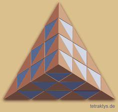 """Die Animation zeigt die """"lückenlose Raumfüllung"""" mit einer dreieckigen Grundfläche. Die roten Fragmente sind Tetraeder, die blauen Fragmente sind Oktaeder. http://tetraktys.de/geometrie-6.html"""