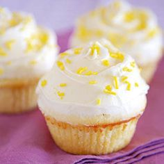 CALAMANSI CUPCAKE (By: Aileen Anastacio)#filipinocuisine *can be stored for up to four days. If refrigerated, place in the microwave, defrost for 30 secs. If you prefer a tangier citrus flavor, replace the milk in the icing recipe with calamansi or lemon juice. (Makes 12 cupcakes) 1 c butter, 1 c sugar, 4 eggs, 1 t vanilla, 1/3 c calamansi juice, 2 c all-purpose flour, 1T baking powder, candy sprinkles, 100 g unsalted butter, 1/4 c milk, 1/2T vanilla extract, 3 3/4 c confectione