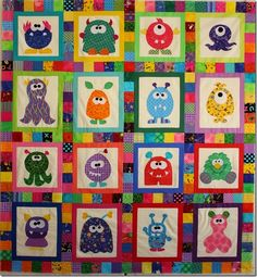 How to Machine Applique – All the Lessons (WITH VIDEOS) monsters onto quilt~~ Scary Squares Monster Quilt Pattern Scary Squares Monster Quilt PatternLike monsters? Then you're going to LOVE this quilt pattern! You get applique patterns for twelve diff Quilt Baby, I Spy Quilt, Cot Quilt, Applique Patterns, Applique Quilts, Quilt Patterns, Quilting Projects, Quilting Designs, Sewing Projects