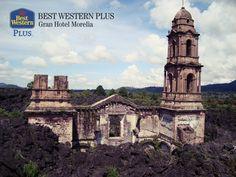 EL MEJOR HOTEL DE MORELIA. En 1943, los flujos de lava de la erupción del volcán Paricutín, cubrieron más de 18 kilómetros cuadrados, dejando un paisaje sin cobertura de vegetación. Actualmente, representa uno de los atractivos del estado de Michoacán, debido a la iglesia que quedó intacta después de la erupción. En Best Western Plus Morelia, le invitamos a hospedarse con nosotros y conocer este impresionante lugar, durante su próximo recorrido.   #bestwesternplusgranhotelmorelia