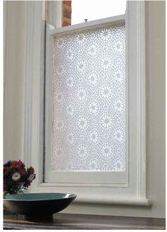 Emma Jeffs White Moroccan Tile Adhesive Film - modern - window treatments - - by Design Public for Fionas bathroom Eclectic Window Treatments, Bathroom Window Treatments, Bathroom Windows, Modern Window Film, Modern Windows, Window Films, Windows 10, Rental Bathroom, Bathrooms
