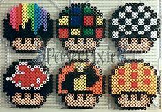 Mushrooms perler beads (Melting Rainbow, Rubik's Cube, Checkered, Akatsuki, The Incredibles Logo, Dragon Ball) perler beads by PerlerPixie