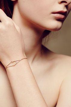 WE ♥ THIS!  ----------------------------- Original Pin Caption: Diamond Monogram Bracelet in 14k Rose Gold - #anthrofave