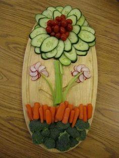 Fresh veggies arranged like a flower