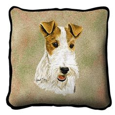 "Artwork by world renowned animal artist, Robert May. 17"" width x 17"" length The front is jacquard woven 100% cotton. Not a print. Solid color backing. With piping. Made in the USA. Special Delivery/Ha"