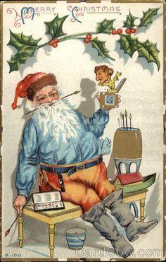 Merry Christmas Series B 100 Santa painting jack in the box