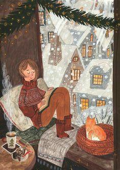 Illustration Noel, Winter Illustration, Christmas Illustration, Christmas Drawing, Christmas Mood, Whimsical Art, Cute Art, Art Inspo, Illustrators