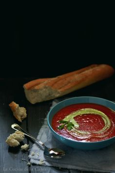 roasted tomato soup with cashew and parsley cream
