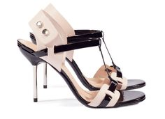 Micaela, skinny 'H' spike sandal in black patent | Pedro Garcia shoes Spring Summer 2014-2015