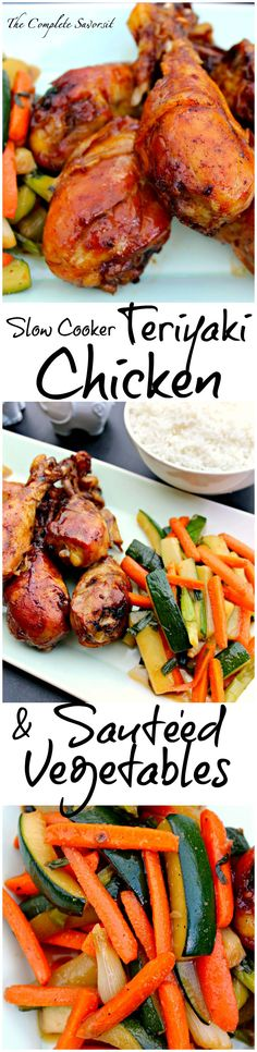 Slow Cooker Teriyaki Chicken Drummers and Sautéed Vegetables ~ The Complete Savorist
