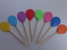 24 Bright Balloon Party Picks - Cupcake Toppers