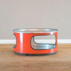 Little Bob - low coffee table made of an oil barrel Oil Barrel, Metal Barrel, Welded Furniture, Low Coffee Table, Wooden Table Top, Oil Drum, Steel Drum, Pallet Designs, Retail Shop