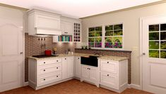 Kitchen:Contemporary Kitchen Cabinets Selection For Sophisticated Kitchen Kitchen Design Plan With White Cabinetry With Decorating Brick Wall With Ceramic Flooring Ideas Also Drawers And Lockers Also Granite Countertop Also Wall Cabinet Also Shelving