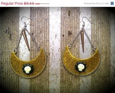 Holiday SALE: I.M.M.O.R.A.L. -Skull Cameo and Metallic Thread Earrings