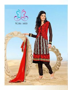 #jacket style #red and #black #party wear #salwarkameez