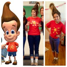 Be Jimmy Neutron! Fun for a blast from the past day at school or Halloween! Red shirt and iron on / sewn on yellow atom. Cuffed jeans or capris. Empty water bottle to keep your hair up w/hair tie.