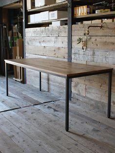 オーク,無垢木天板,アイアン家具,鉄脚ダイニングテーブル,