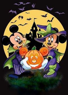 Disney Halloween Parties, Mickey Mouse Halloween, Mickey Mouse Cartoon, Halloween Cartoons, Halloween Images, Halloween Signs, Halloween Art, Halloween Themes, Minnie Mouse